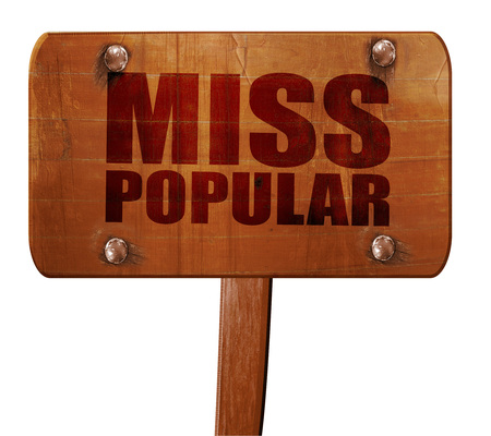 most talent: miss popular, 3D rendering, text on direction sign Stock Photo