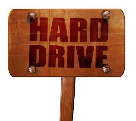 harddrive: harddrive, 3D rendering, text on direction sign