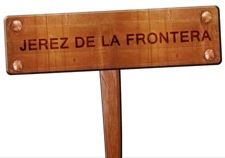 jerez de la frontera: Jerez de la frontera road sign, 3D rendering Stock Photo