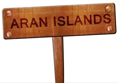 aran islands: Aran islands road sign, 3D rendering