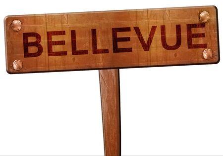 bellevue: bellevue road sign, 3D rendering Stock Photo