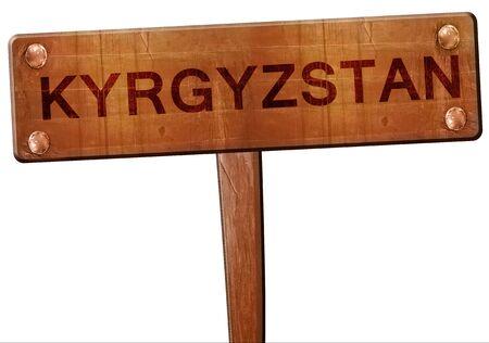 kyrgyzstan: Kyrgyzstan road sign, 3D rendering Foto de archivo