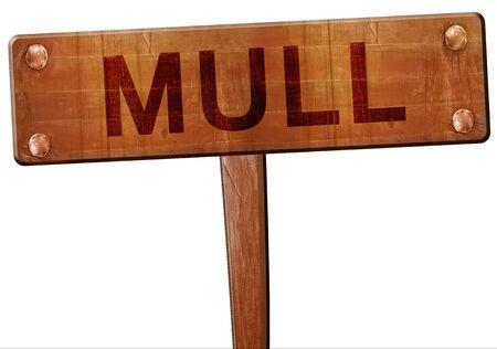 Mull: Mull road sign, 3D rendering Stock Photo