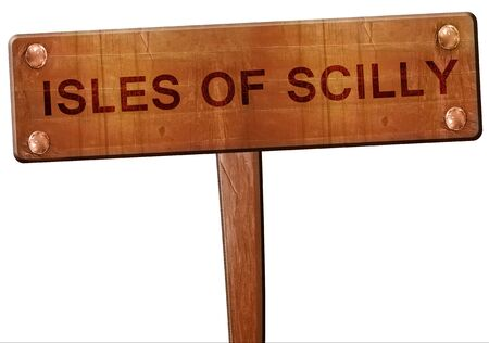 scilly: Isles of scilly road sign, 3D rendering Stock Photo