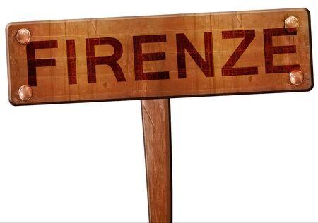 firenze: Firenze road sign, 3D rendering