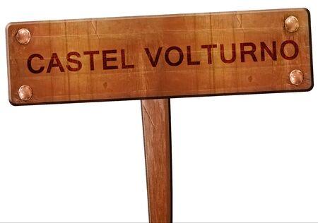 castel: Castel volturno road sign, 3D rendering Stock Photo