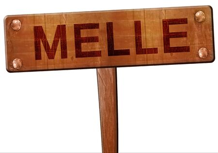melle: Melle road sign, 3D rendering Stock Photo