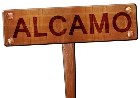 alcamo: Alcamo road sign, 3D rendering