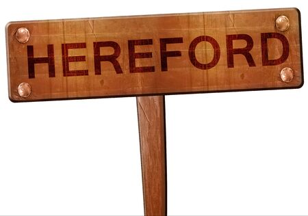 hereford: Hereford road sign, 3D rendering Stock Photo