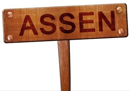 assen: Assen road sign, 3D rendering