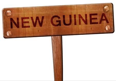 new guinea: New guinea road sign, 3D rendering Archivio Fotografico