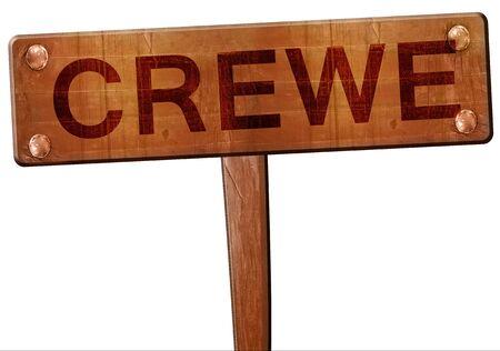 Crewe road sign, 3D rendering