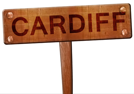 cardiff: Cardiff road sign, 3D rendering Stock Photo