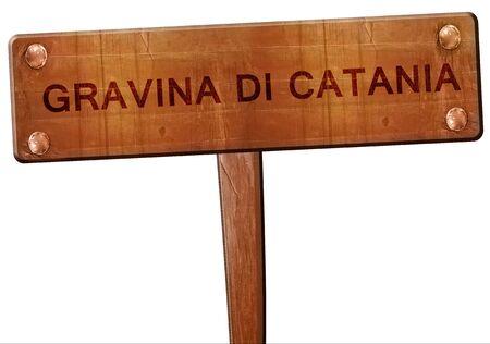catania: Gravina di catania road sign, 3D rendering