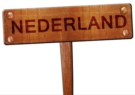 nederland: Nederland road sign, 3D rendering