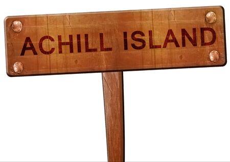 achill: Achill island road sign, 3D rendering