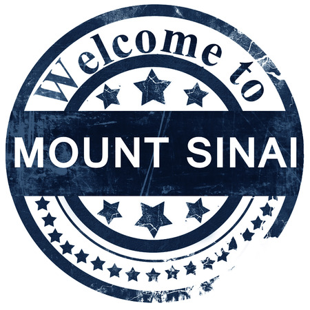 monte sinai: mount sinai stamp on white background Foto de archivo