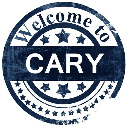 cary: cary stamp on white background Stock Photo