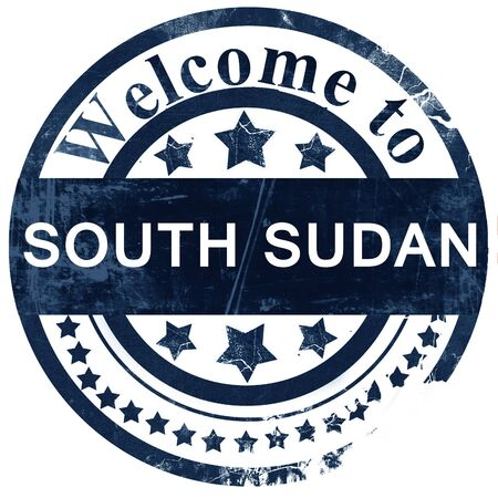 south sudan: South sudan stamp on white background