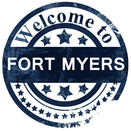 myers: fort myers stamp on white background