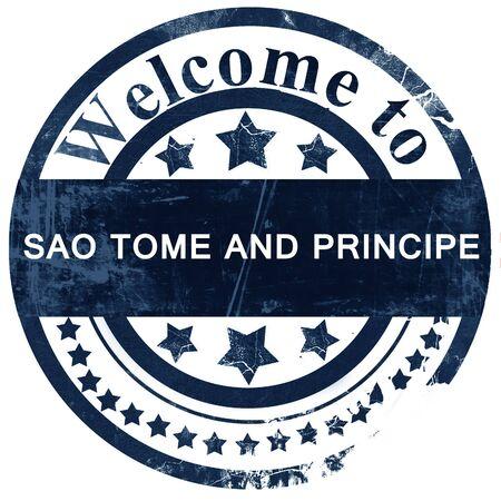 principe: Sao tome and principe stamp on white background Foto de archivo