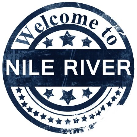 white nile: nile river stamp on white background