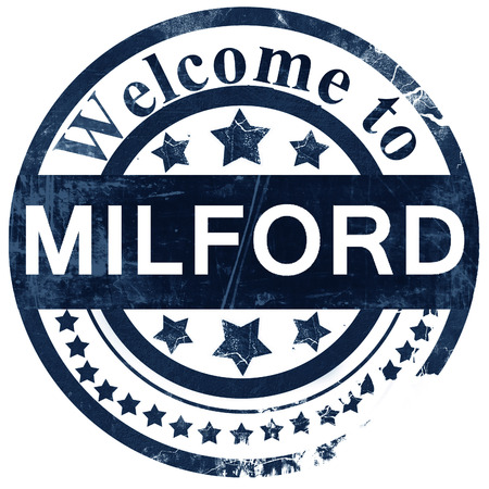 milford: milford stamp on white background