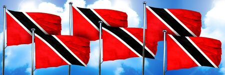 Trinidad and tobago flags, 3D rendering, on a cloud background