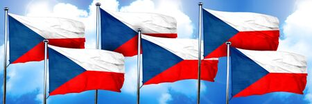 czechoslovakia flags, 3D rendering, on a cloud background Stock Photo
