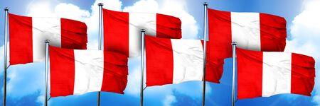bandera de peru: Banderas de Perú, representación 3D, en un fondo de la nube
