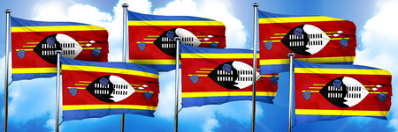 swaziland: Swaziland flags, 3D rendering, on a cloud background