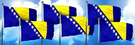herzegovina: Bosnia and Herzegovina flags, 3D rendering, on a cloud backgroun Stock Photo