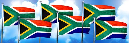 South africa flags, 3D rendering, on a cloud background