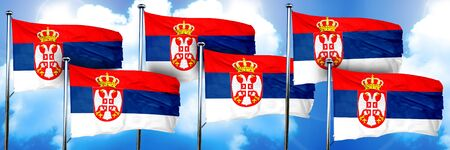 Serbia flags, 3D rendering, on a cloud background Stock Photo