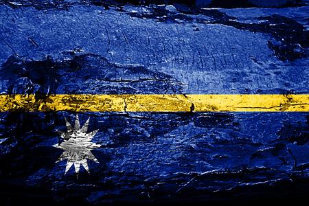 Nauru flag with grunge texture