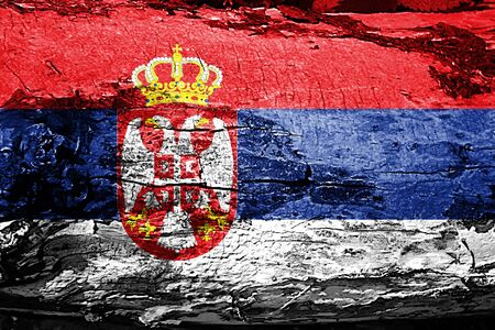 serbia: Serbia flag with grunge texture
