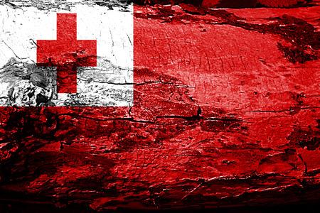 tonga: Tonga flag with grunge texture