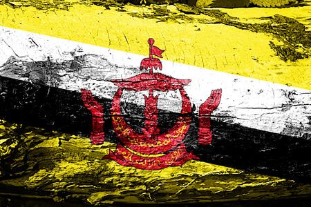 Brunei flag with grunge texture