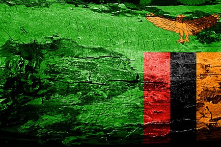 zambia flag: Zambia flag with grunge texture