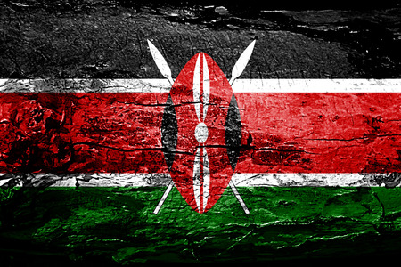 kenya: Kenya flag with grunge texture
