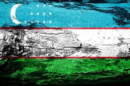 Uzbekistan flag with grunge texture