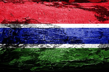 gambia: Gambia flag with grunge texture Stock Photo