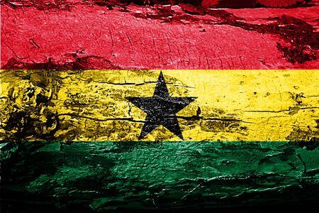 Ghana: Ghana flag with grunge texture