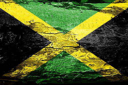 Jamaica flag with grunge texture 版權商用圖片
