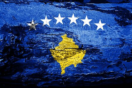 Kosovo flag with grunge texture