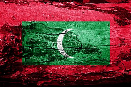 Maldives flag with grunge texture Stock Photo
