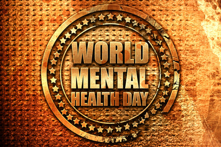 developmental disorder: world mental health day, 3D rendering, grunge metal stamp