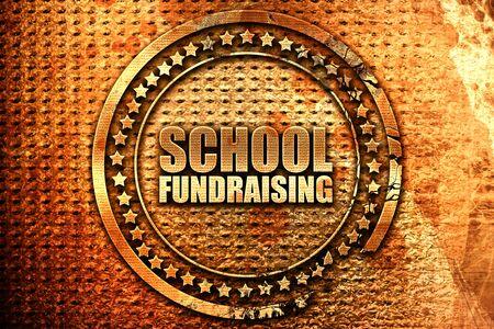 school fundraising, 3D rendering, grunge metal stamp