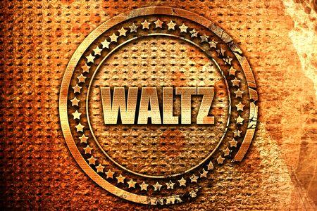 music 3d: waltz dance, 3D rendering, grunge metal stamp