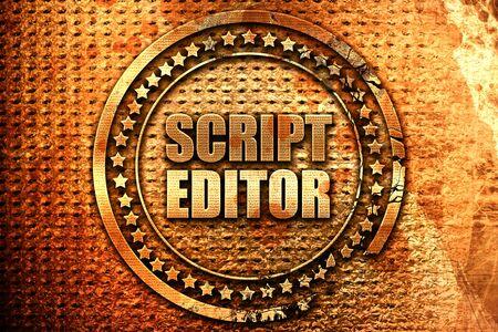 script editor, 3D rendering, grunge metal stamp Stock Photo
